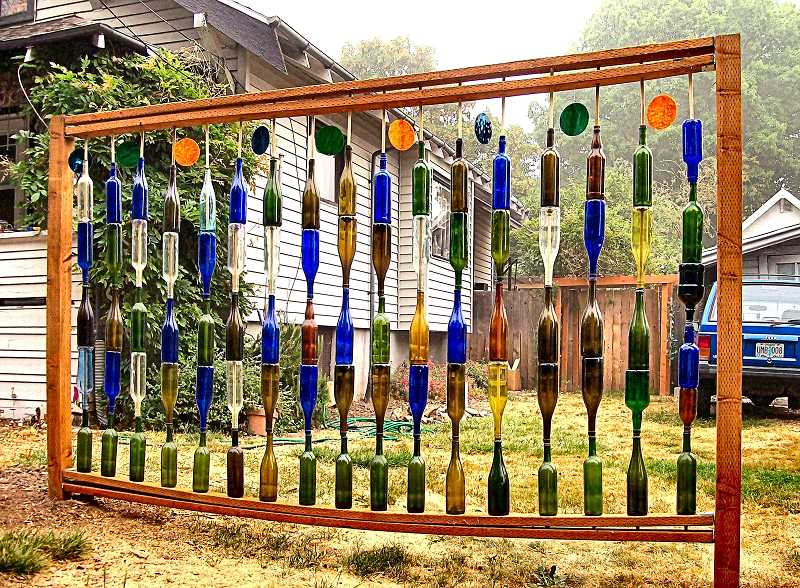 RITA A. LEONARD - This glass-bottle wall can be found at 4328 S.E. 25th Avenue.