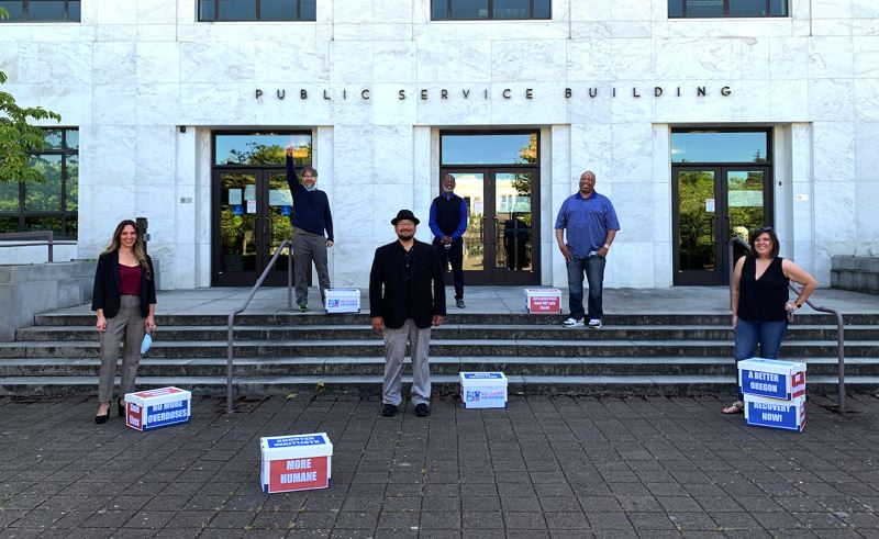 PHOTO COURTESY OF YES ON 110 - Janie Gullickson (left) poses for a photo with her fellow chief petitioners and proponents of Measure 110 in front of the Oregon Secretary of State's office in Salem earlier this year before submitting their signatures to get their proposal on the 2020 general election ballot.