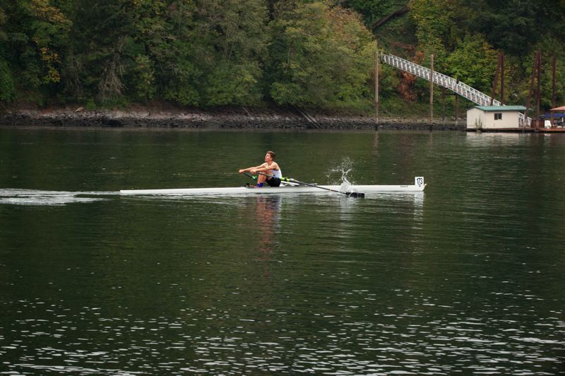 COURTESY PHOTO: KYM MCCORNACK - Will Hathaway, a junior at Cleveland High, rows to first place in a special sculling race staged on Oct. 3 by Oregon Rowing Unlimited on the Willamette River.