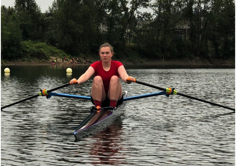 COURTESY PHOTO: REBECCA GARRETT - Lauren Garrett, a sophomore at West Linn High, was the fastest female finisher in an Oct. 3 sculling race staged by Oregon Rowing Unlimited.