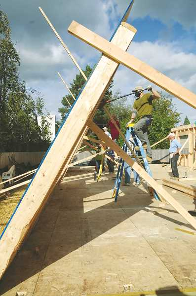 PMG PHOTO: GARY ALLEN - Habiat for Humanity's latest project in Newberg is new in that it is a duplex that will be inhabited by two single women.