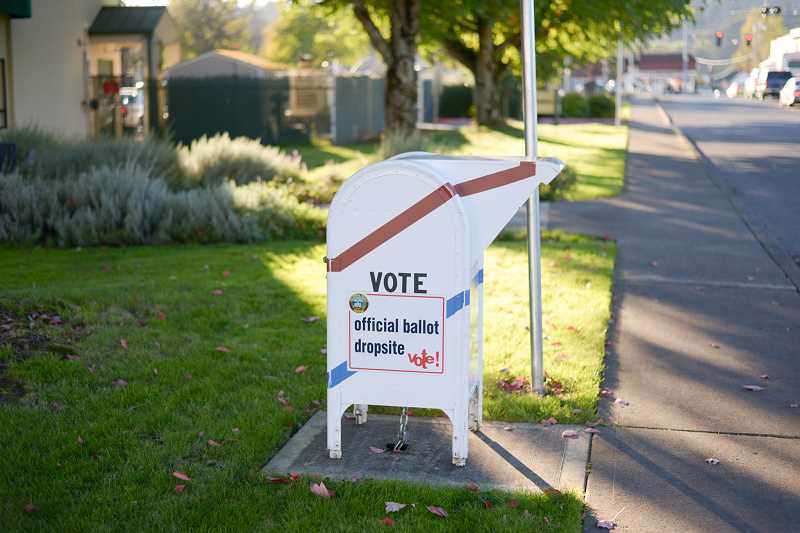 PMG PHOTO: ANNA DEL SAVIO - One of Columbia Countys six 24/7 ballot drop boxes is located in front of Scappoose City Hall.