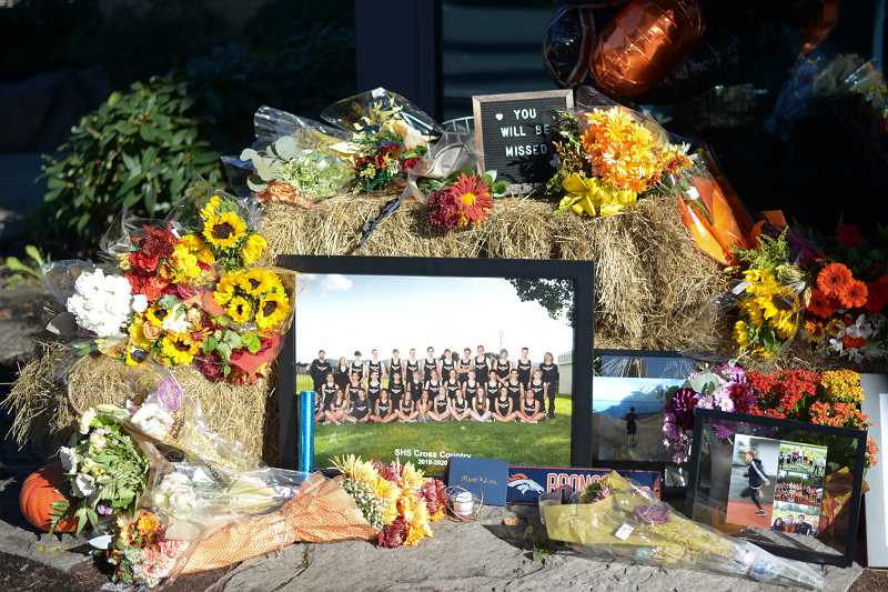 PMG PHOTO: ANNA DEL SAVIO - A memorial outside Scappose High School honors Neil Hoffmann, a student who died in October 2020.