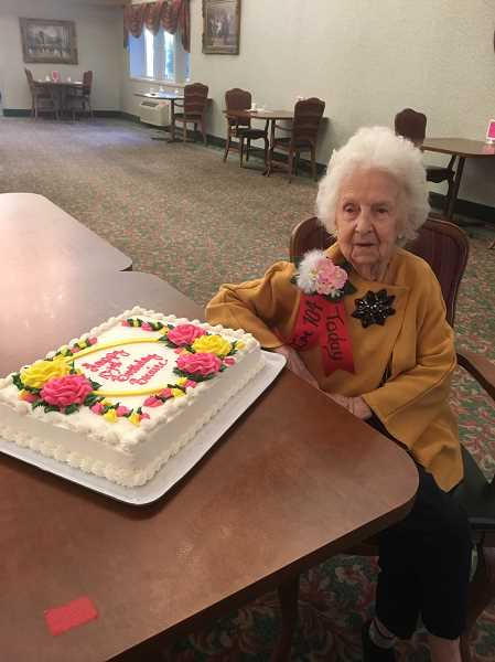 COURTESY PHOTO: KATHLEEN KNUPP - Bernice McBride of Cascade Park Retirement Community in Woodburn shown with her birthday cake, a celebration of 104 years.