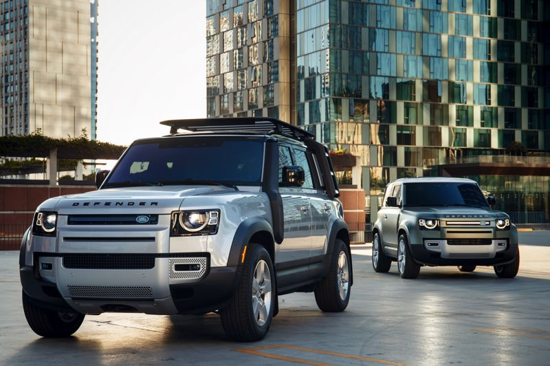 COURTESY LAND ROVER/NICK DIMBLEBY - The remarkable 2020 Land Rover Defender 110 (foreground) is here now and the Defender 90 is coming soon.