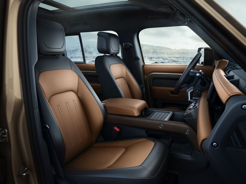 COURTESY LAND ROVER/HAVAS FORMULA - The seats in the 2020 Land Rover Defender 110 are comfortable enough for long trips and supportive enough for off-road driving.