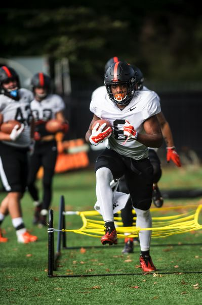 COURTESY PHOTO: KARL MAASDAM/OSU - Oregon State will be counting on a big season from running back Jermar Jefferson.