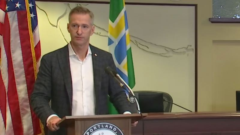 COURTESY PHOTO: KOIN 6 NEWS - Mayor Ted Wheeler at the Monday morning press conference.