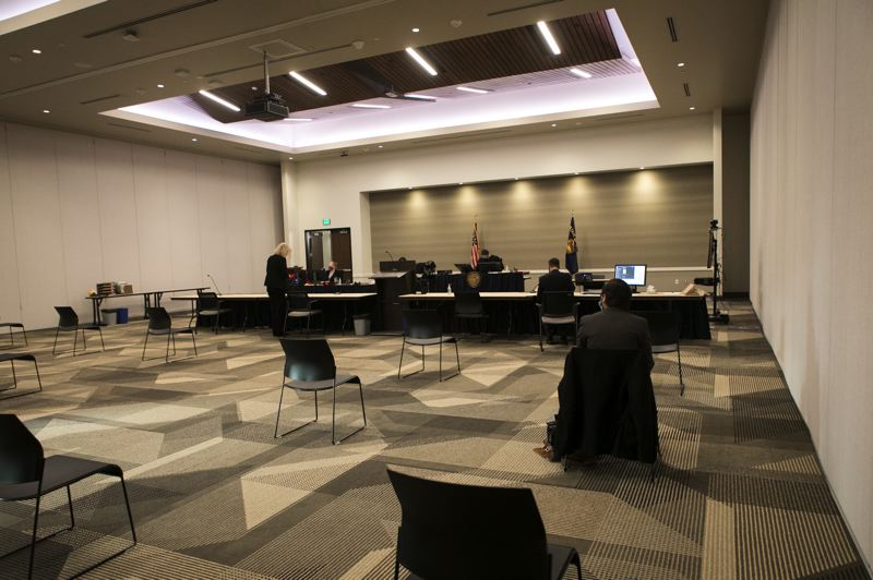 PMG PHOTO: JAIME VALDEZ - A view of one of the temporary Washington County courtrooms, named Courtroom Wingspan #1, at the Wingspan Event & Conference Center.