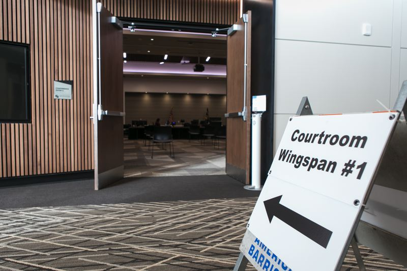 PMG PHOTO: JAIME VALDEZ - The entrance of a temporary Washington County courtroom, named Courtroom Wingspan #1, at the Wingspan Event & Conference Center.