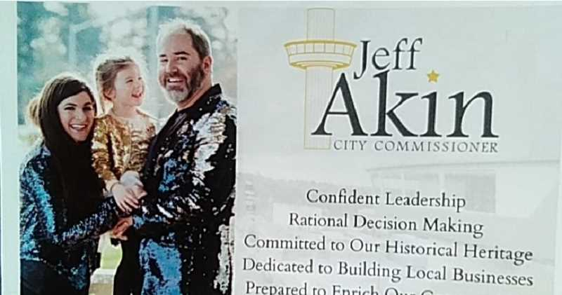 PMG PHOTO: RAYMOND RENDLEMAN - Oregon City candidate Jeff Akin raised some eyebrows when he mailed this postcard to registered voters across the city.