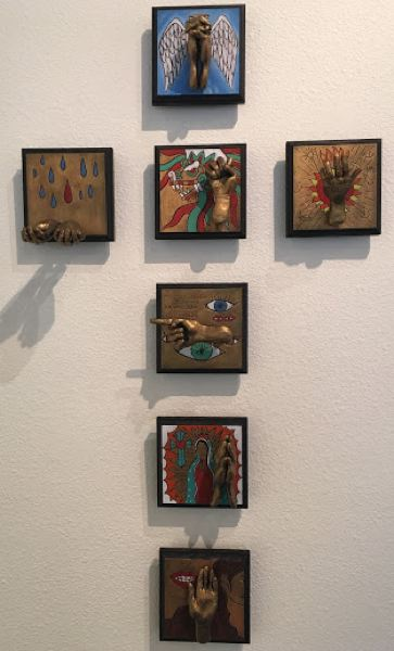 COURTESY PHOTO - Wilsonville High art teacher Angennette Escobar's pieces include wood, polymer clay and acrylic.