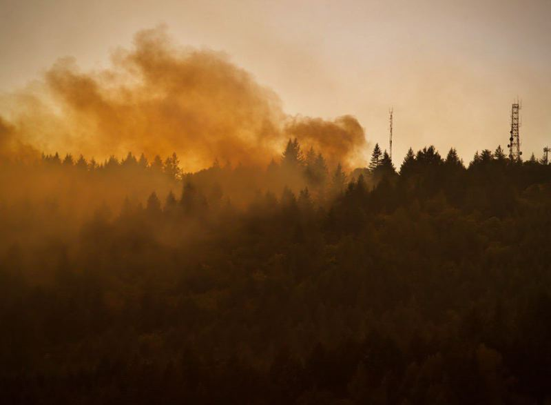 PMG PHOTO: JAIME VALDEZ - Fumes of smoke rise from the Chehalem Mountain-Bald Peak Fire near Newberg on Sept. 9. The wildfire prompted hundreds of evacuations, but with the intervention of firefighters and volunteers, no houses were burned and no injuries were reported.