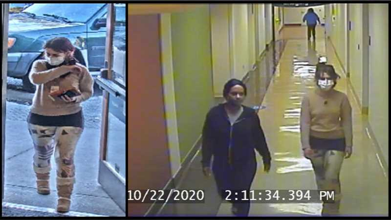COURTESY PHOTO - Surveillance photos show two women suspected in an Oct. 23 credit card/ID theft from Willamette Falls Hospital in Oregon City.