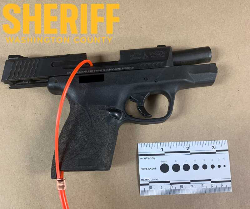 COURTESY PHOTO: WASHINGTON COUNTY SHERIFFS OFFICE - The handgun seized for evidence by the Washington County Sheriffs Office after a man accidentally fired a gun into an apartment in the Cedar Mill neighborhood.