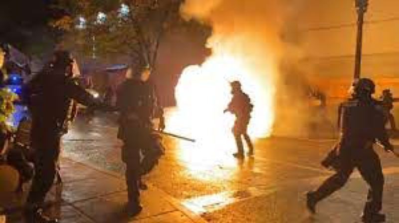 CONTRIBUTED - A Molotov cocktail thrwon at police in Portland.