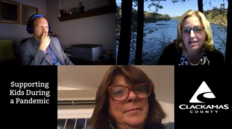 SCREENSHOT - YOUTUBE - Commissioner Sonya Fischer (upper right) and Commissioners Martha Schrader (bottom) participate in a listening session hosted by Dylan Blaylock (upper left) of Clackamas County Public and Government Affairs on supporting local children during a pandemic.