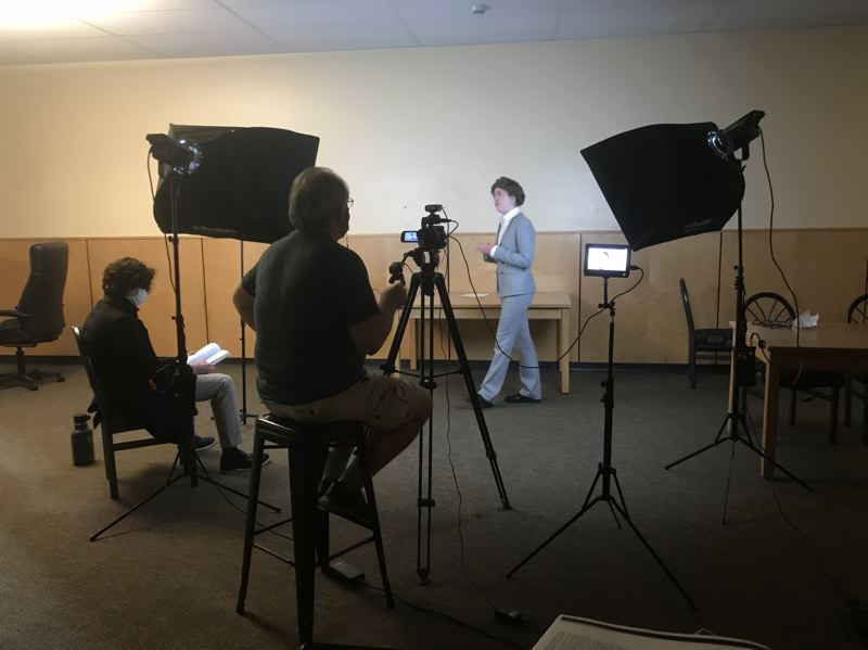 COURTESY PHOTO: WILSONVILLE HIGH SCHOOL THEATRE DEPARTMENT - Junior Shay Moore performs her scene while Junior Cian Lister, seated, reads his lines. John Fitzgerald brings his cameras and know-how from the WVHS Broadcasting Department to support filming the play.