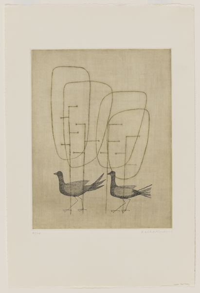 COURTESY PHOTO: PORTLAND ART MUSEUM - Minami Keiko's 'Oiseaux dans le bois (Birds in the Woods),' from 1961, is part of the show 'Japan's Women Printmakers' at the Portland Art Museum through April 11, 2021. Keiko's spare, wistful aquatints look right in place in Portland in 2020.