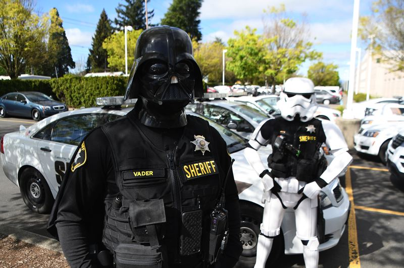 COURTESY PHOTO: - A photo, which has since been deleted, posted by the Washington County Sheriff's Office on Friday, Oct. 30, shows deputies dressed as Star Wars characters Darth Vader and a stormtrooper.