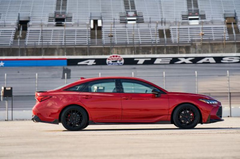 COURTESY TOYOTA - The Supersonic Red 2020 Avalon TRD with black wheels and trim — the same as our test car — looks as great as it drives.