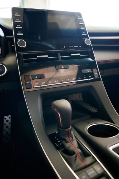 COURTESY TOYOTA - The huge screen in the middle of the dash in the Alavon is attractive and easy to read and operate.