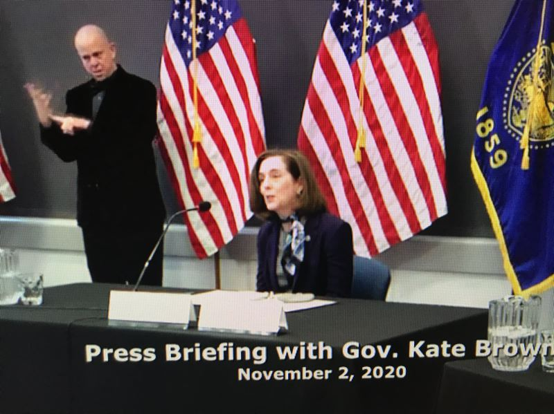 YOUTUBE.COM - Gov. Kate Brown on Monday announced that she's put the state police and Multnomah County Sheriff Mike Reese in charge of keeping the peace in Portland on election day.