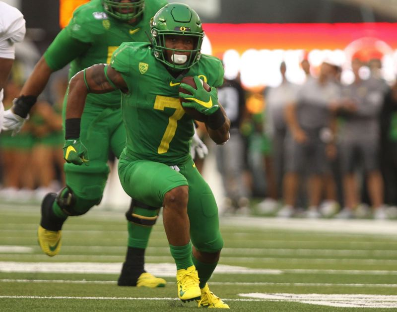 PMG FILE PHOTO: JAIME VALDEZ - Led by junior CJ Verdell, Oregon has one of the deepest groups of experienced running backs in the country.