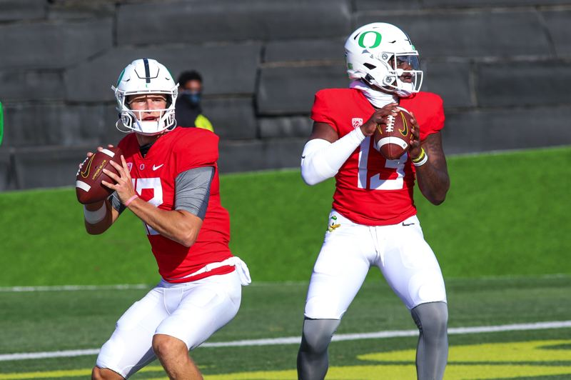 COURTESY PHOTO: OREGON ATHLETICS - Tyler Shough (left) and Anthony Brown battled throughout camp to be the Ducks starting quarterback.