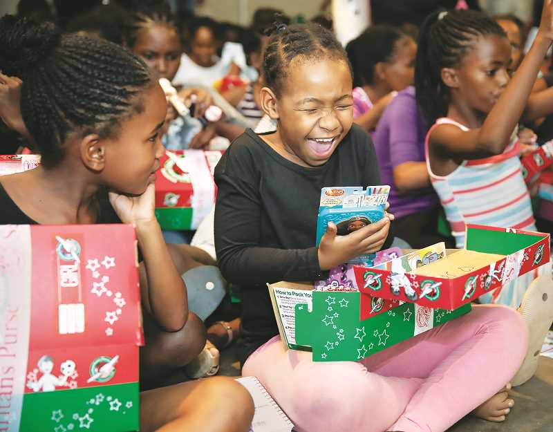 COURTESY PHOTO: SAMARITAN'S PURSE - During the week of Nov. 16-23, shoeboxes filled with toys, school supplies, hygiene and other items can be dropped off at Grace Baptist Church in Newberg as part of Operation Christmas Child.