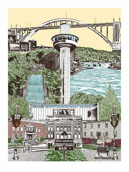 COURTESY PHOTO: DOCA - Beth Kerschen's art print titled 'Cheers to 175 years' features the Arch Bridge and the Oregon City Municipal Elevator.