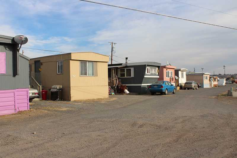 HOLLY SCHOLZ/MADRAS PIONEER  - City and county officials want building codes enforced at Tops Trailer Park north of Madras.