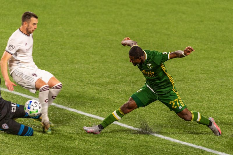 PMG PHOTO: DIEGO G. DIAZ - Dairon Asprilla, in his first action since March 1, nearly tied it late for the Timbers. But his shot went off the outside of the post in Portland's 1-0 loss to Colorado on Wednesday at Providence Park.