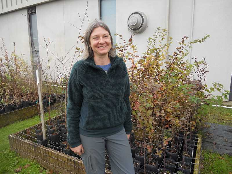PMG PHOTO: SCOTT KEITH - Dana Pricher standing alongside vegetation at the nursery behind Scappoose High School