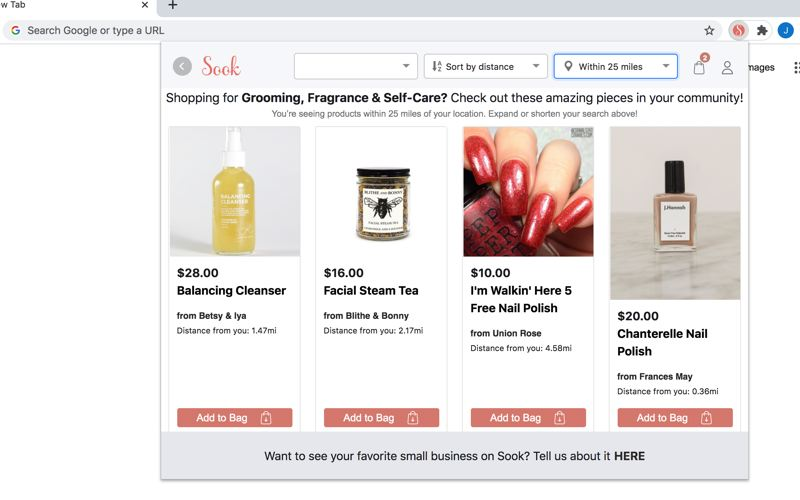 COURTESY: SOOK  - The Sook browser plugin allows online shoppers to search local indie boutiques before the usual big box suspects. The Seattle based startup has signed up 30 Portland shops and boutiques so far.