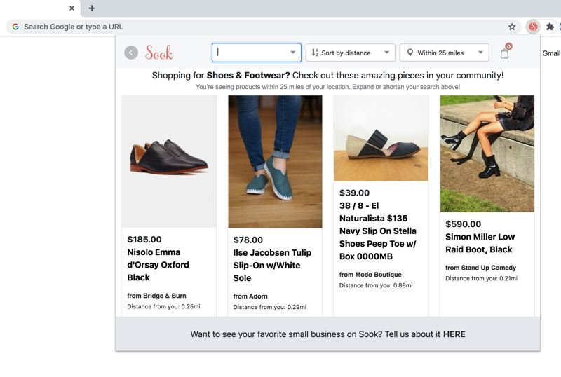 COURTESY: SOOK  - The Sook browser plugin allows online shoppers to search local indie boutiques before the usual big box suspects. Shopping for cute shoes just got easier.