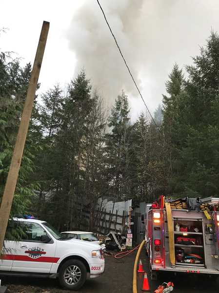 COURTESY PHOTO: CCSO - The fire was fully involved when crews arrived at about 9:30 a.m. Thursday, Nov. 5.