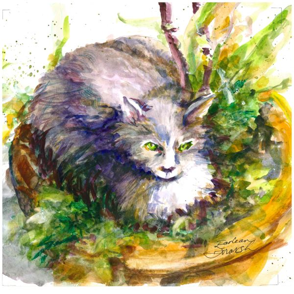 COURTESY PHOTO - A painting of a cat that lives near the Estacada Community Center is included in Earlean Marsh's Spiral Gallery show.