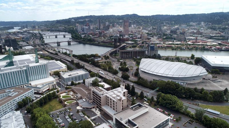 PMG PHOTO: ALVARO FONTAN - The Oregon Department of Transportion plans to add lanes to Interstate 5 as it weaves past the Moda Center, Oregon Convention Center and other parts of the Rose Quarter's historically-Black Albina District in Portland.