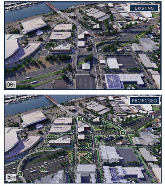 VIA ODOT - A rendering by ODOT shows how the Rose Quarter would change as highway covers and new road and bike connections are added to the area.