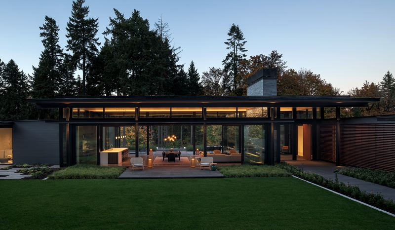COURTESY: AIA OREGON - Scott Edwards won for its Glass Link, a stylized modern home at an undisclosed location.
