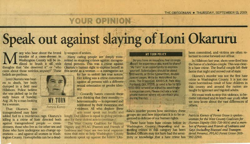 COURTESY IMAGE: WASHINGTON COUNTY DISTRICT ATTORNEY'S OFFICE - A news clipping from The Oregonian in 2001 details the murder of Loni Okaruru, a transgender woman who was found killed in Hillsboro. It's one of many cold cases the Washington County District Attorney's Office will be able to reopen with a new grant.