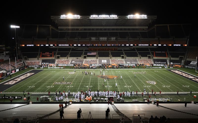 COURTESY PHOTO: KARL MAASDAM/OSU - It was a strange sight at a fan-less Reser Stadium, as Oregon State opened its seven-game Pac-12 season, which had been delayed because of the COVID-19 pandemic.