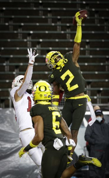 COURTESY PHOTO: ANDY NELSON/EUGENE REGISTER GUARD - Oregon defensive back Mykael Wright defends a pass intended for Stanford's Simi Fehoko in the end zone.