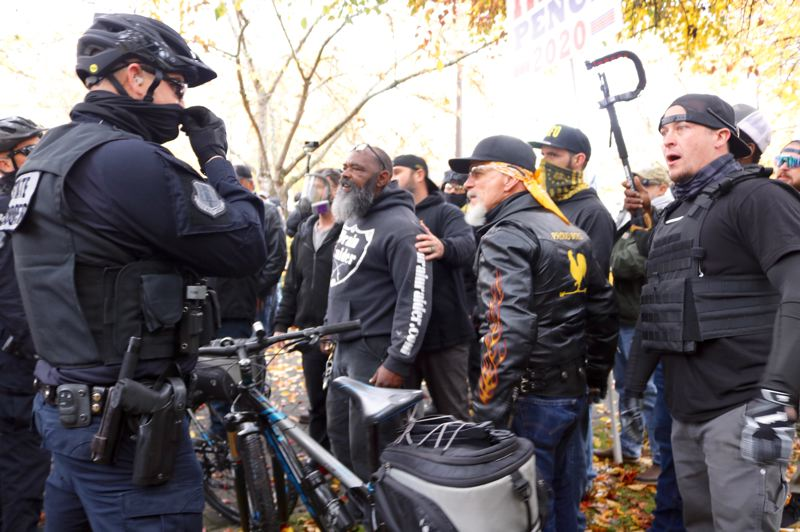 PMG PHOTO: ZANE SPARLING - Oregon Republicans gathered for a 'Stop The Steal' rally at the state capitol in Salem on Saturday, Nov. 7.