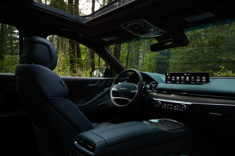 COURTESY GENESIS - The luxurious interior of the 2021 Genesis G80 is dominated by a 14.5 inch infortainment screen.