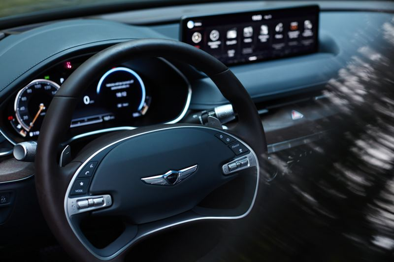 COURTESY GENESIS - The attention to detail in the 2021 Genesis G80 can be seen in the intricate details of the steering wheel.