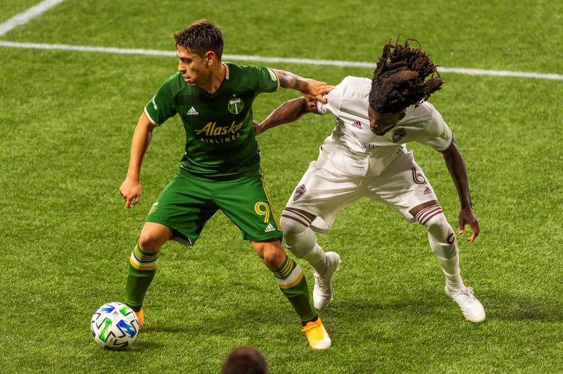 PMG PHOTO: DIEGO G. DIAZ - Felipe Mora (9) was one of several newcomers who helped the Timbers finish second in MLS in regular-season goals with 46 in 23 matches.