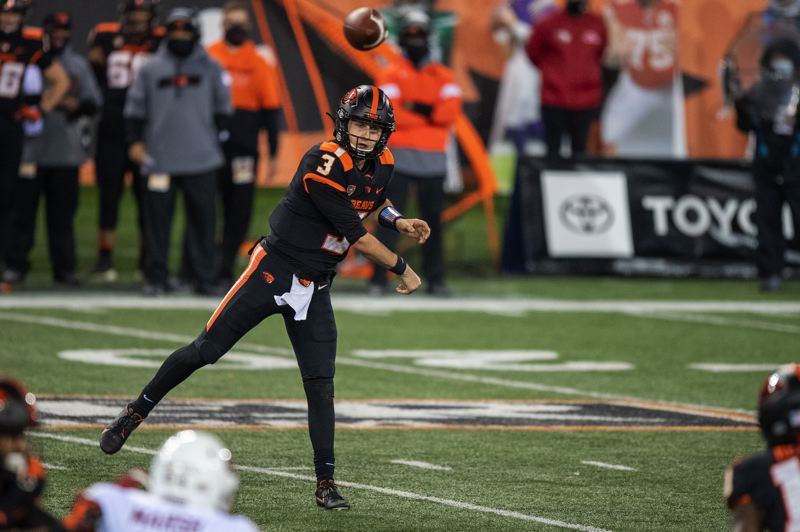 COURTESY PHOTO: KARL MAASDAM/OSU - Oregon State quarterback Tristan Gebbia said he needs to play better against Washington, and that the Beavers hopefully can move the ball early and often.