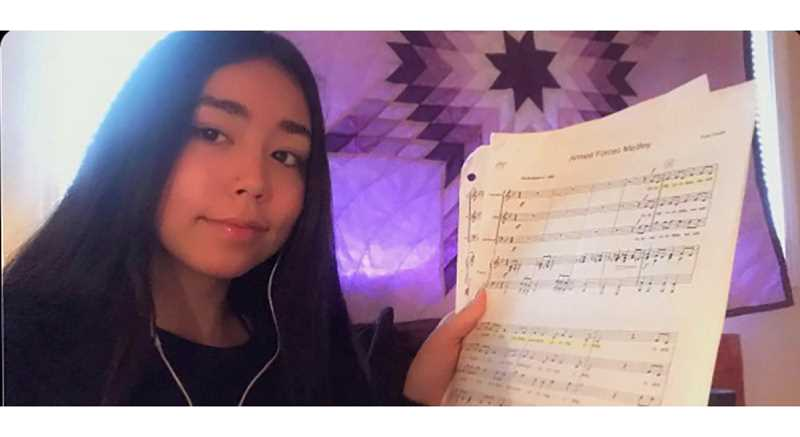 COURTESY PHOTO - Gladstone High School freshman choir student Cheyenne Cuny rehearses for the school's Veterans Celebration, provided online due to the pandemic.